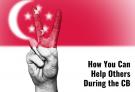 singaporean flag and peace sign